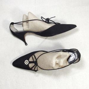 VINTAGE 60s Strappy Kitten Heel Pumps by ERA 7.5 N